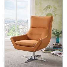 Orange Leather Swivel Chair Modern Orange Accent Chairs Allmodern