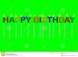 happy green color happy birthday text candles isolated stock illustration