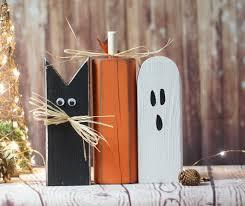 rustic halloween black cat pumpkin ghost shelf sitter