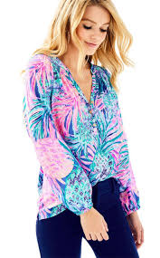 2017 auth lilly pulitzer elsa silk top purple opal swell