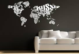 world map with country names contemporary wall decal sticker typographic world map wall decal