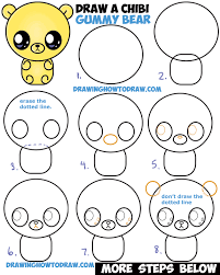 draw cute chibi kawaii cartoon gummy bear easy step