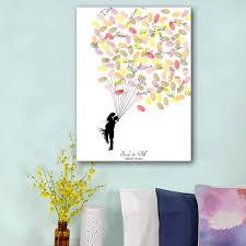 wedding gift book fingerprint balloon signature canvas painting hug of groom