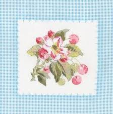 quilt fabric panel cherry squares baby blue gingham shabby chic