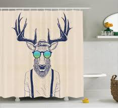 Animal Print Bathroom Decor Deer Shower Curtain Hipster Animal Art Print Bathroom Decor Ebay