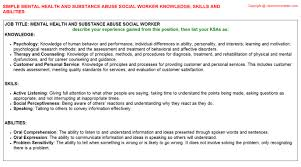 mental health and substance abuse social worker knowledge u0026 skills