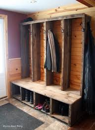 reclaimed wood constructed into rustic entryway bench random