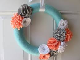 spring wreaths for front door modern spring wreath aqua coral grey and white yarn wreath
