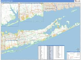 suffolk county map suffolk county ny zip code wall map basic style by marketmaps
