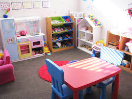 nice fun playroom ideas for kids with yellow blue paint walls and
