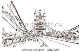 sketch tower bridge london uk vector stock vector 723613960