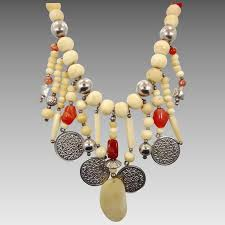 beaded stone necklace images Boho necklace beaded stone bone gypsy necklace vintage bib jpg