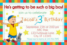 caillou birthday invitation