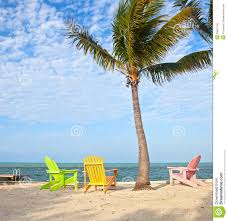 summer beach scene with palm trees and lounge chairs royalty free