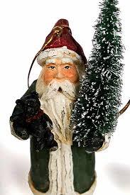 set of 3 primitive world santa ornaments ornaments