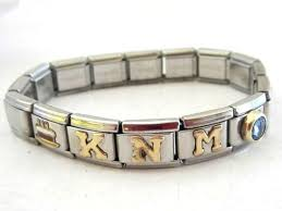 stainless steel charm bracelet images Stainless steel 18k jad initialed stretch and 50 similar items jpg