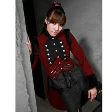 rqbl military coat jacket red black tailcoat gothic vtg steampunk