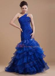 mermaid organza one shoulder brush sweep ruffles prom dress royal