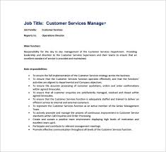 Customer Service Manager Responsibilities Resume Operations Director Job Description Restaurant Manager Job