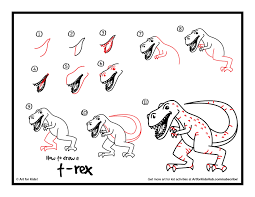 how to draw a realistic t rex art club members art for kids