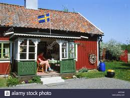 Country Flags Small Typical Red Country House With Swedish Flag Over Small Front Porch