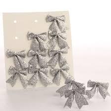 small silver glitter bow embellishments christmas ornaments