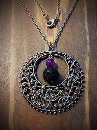 tibetan silver pendant necklace images Lava stone amethyst and tibetan silver flower filigree pendant jpg