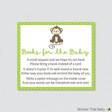 bring book instead of card to baby shower monkey baby shower bring a book instead of a card invitation