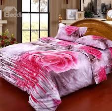 Pink Rose Duvet Cover Set 3d Pink Rose By The River Printed 4 Piece Bedding Sets Duvet
