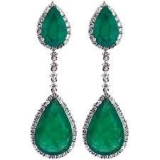 emerald drop womens emerald diamond drop earrings 18k white gold 7 61 ct