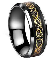 gold wedding bands for him tanyoyo black gold celtic stainless steel ring