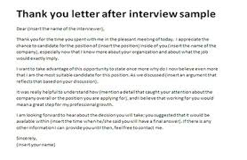 sample thank you letters after interview appreciation letter