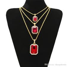 men necklace sizes images Hip hop men jewelry bling iced out three layer ruby pendant jpg