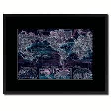 world ocean currents vintage vivid color map home decor wall art