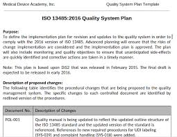 quality system plan template medical device academy