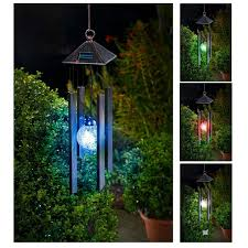 Colour Changing Solar Garden Lights - solar powered colour changing wind spinner hanging spiral led