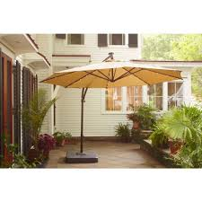 Patio Offset Umbrellas Hton Bay 11 Ft Offset Led Patio Umbrella In Pits
