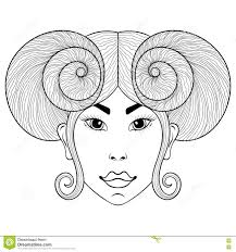 hand drawn zentangle zodiac sign aries with face for