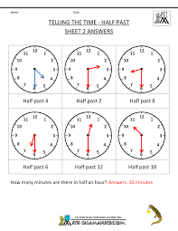 telling time half hour telling time worksheets o clock and half past