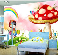 home decoration 3d wall murals wallpaper for kids room mushroom