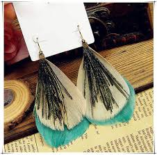 peacock feather earrings s green peacock feather vintage fashion earring 15 95 free