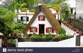 A Frame House by Traditional Palheiro A Frame House Santana Madeira Portugal Stock