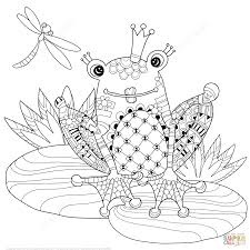 zentangle frog prince coloring page free printable coloring pages