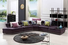Purple Table L L Shaped Purple Leather Sofa And Colorful Cushions On