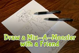 how to draw a mix a monster with a friend