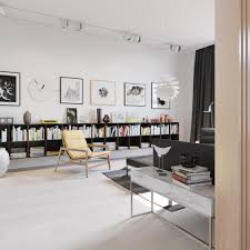 living room large glass windows picture white wall books pencils