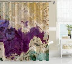 Curtains Plum Color by Abstract Shower Curtain Purple Cream And Green U2013 Abstract Art Home