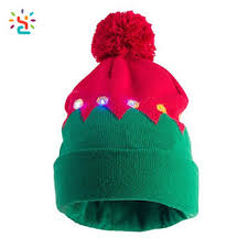 beanie with led lights light up santa s elf hat multi led lights christmas cuff pom pom