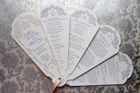 paper fan wedding programs ornate letterpress wedding program fans