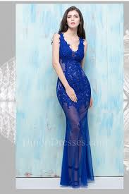 royal blue tulle mermaid v neck open back sheer see through royal blue tulle lace